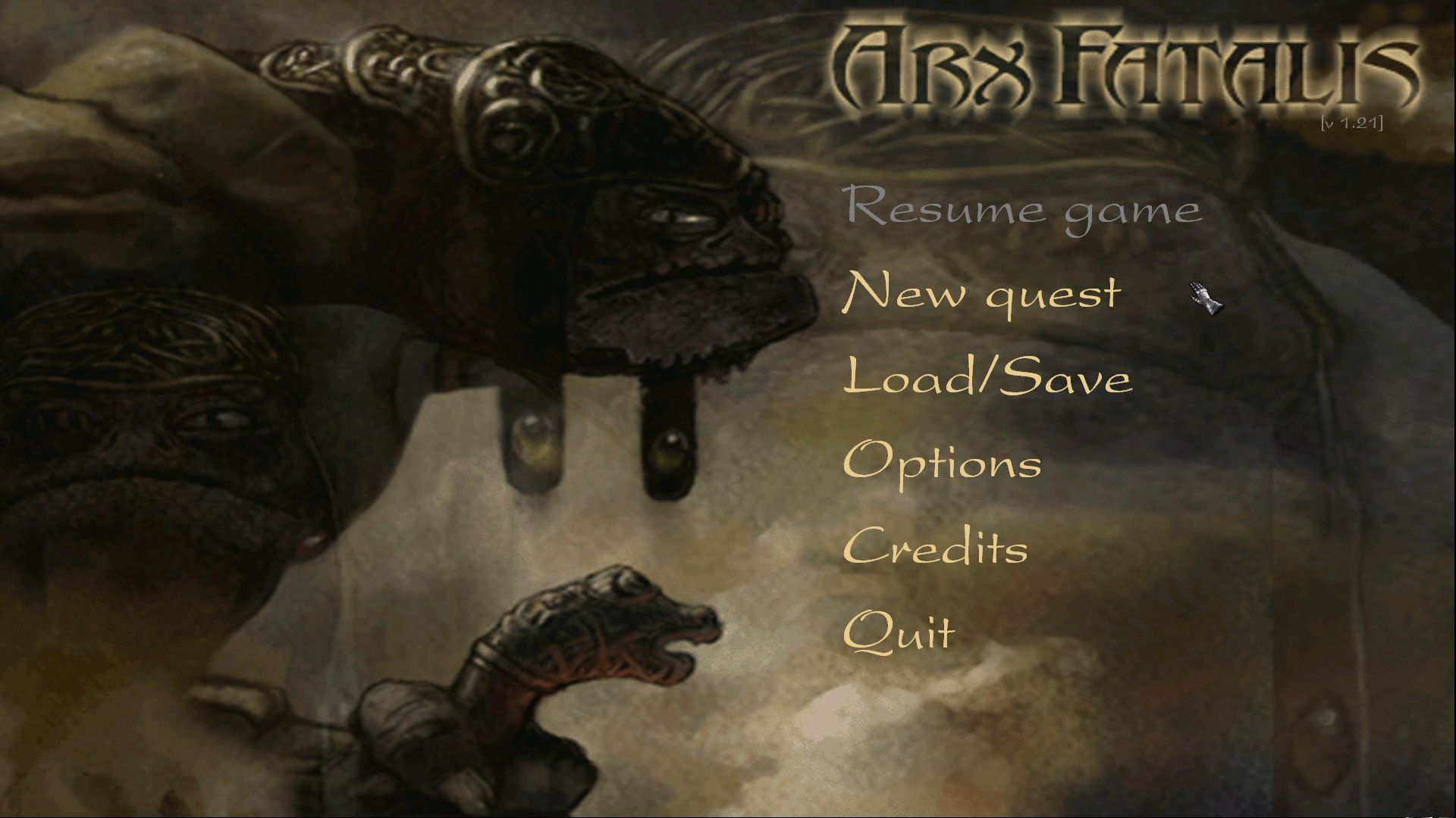 Arx Fatalis Windows Main Menu
