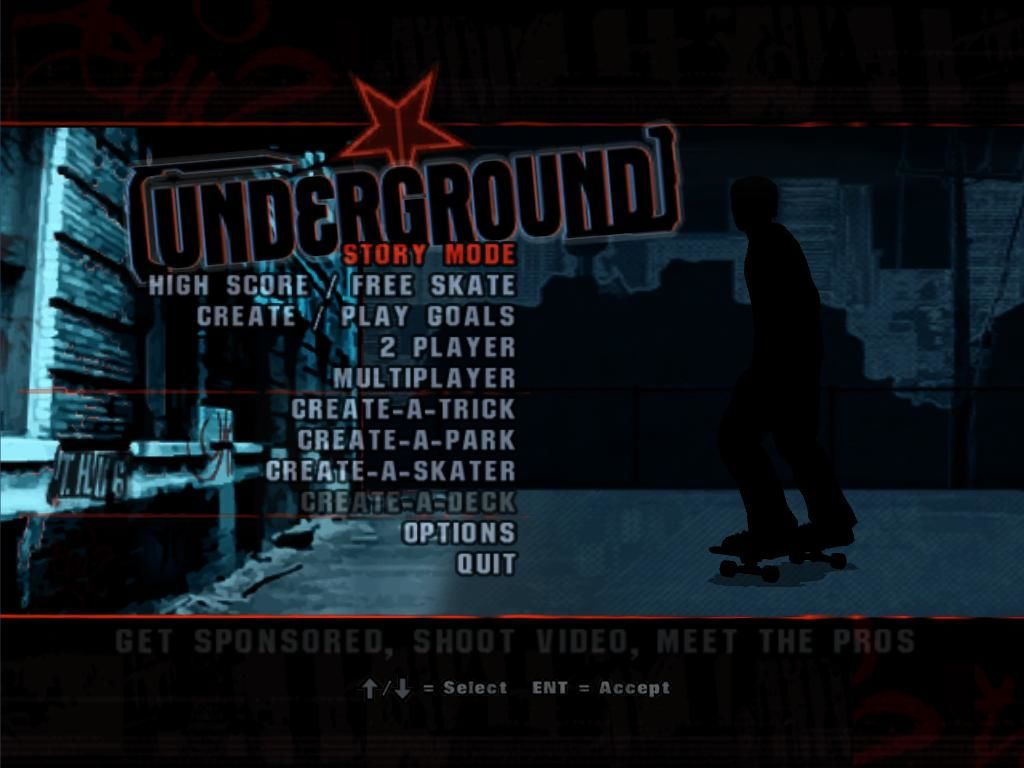 Tony Hawk's Underground Windows Main menu