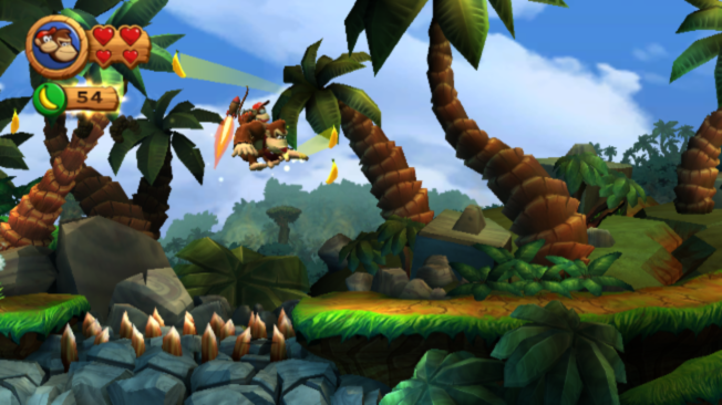 Donkey Kong Country Returns Wii Diddy Kong returns. This time he rides on Kong's back at all times and can be used for a boost thanks to his jetpack