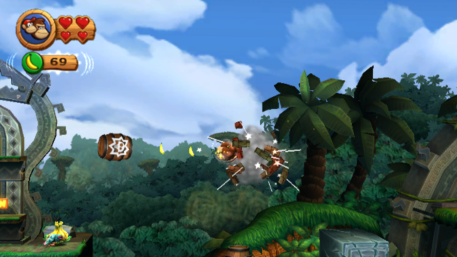 Donkey Kong Country Returns Wii Barrel blasting is back