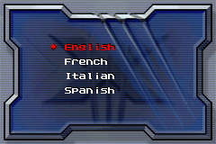 X-Men: The Official Game Game Boy Advance Language selection