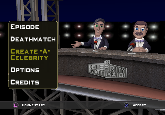 MTV Celebrity Deathmatch PlayStation 2 Menu screen.