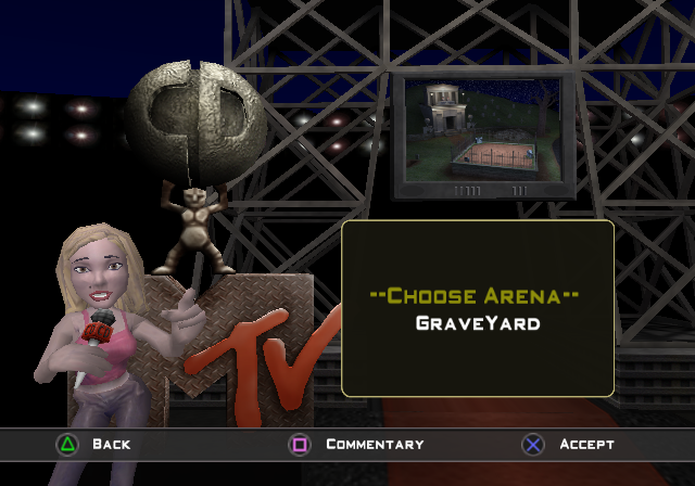 MTV Celebrity Deathmatch PlayStation 2 Selecting the battlefield.