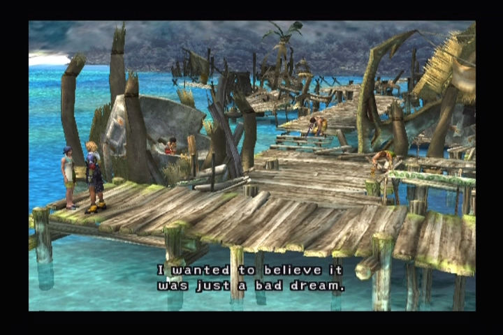 Final Fantasy X PlayStation 2 Rebuilding a destroyed village.
