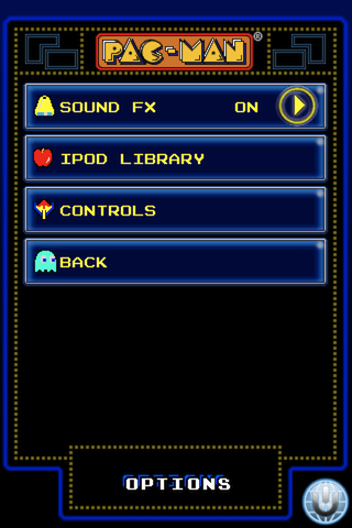 Pac-Man iPhone Extra options include turning the iconic sound fx off, or using your own ipod library of music.
