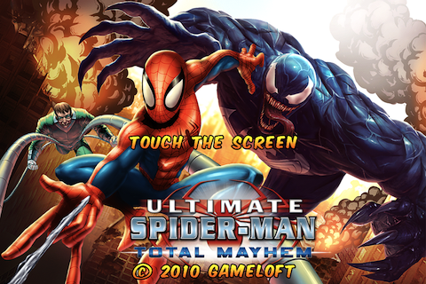 Spider-Man: Total Mayhem iPhone Title Screen.
