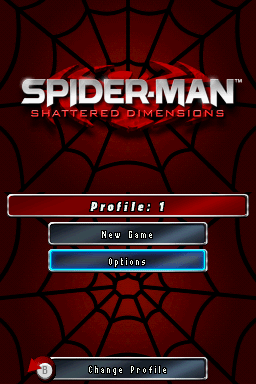 Spider-Man: Shattered Dimensions Nintendo DS Title and menu screens.
