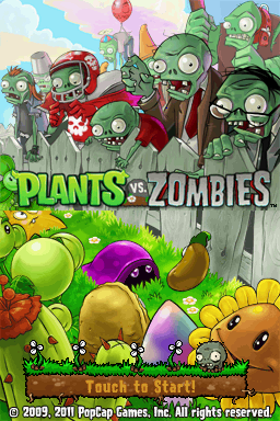 Plants vs. Zombies Nintendo DS Title screen.