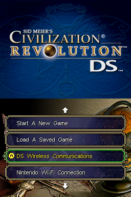 Sid Meier's Civilization: Revolution Nintendo DS Title screen with main menu.