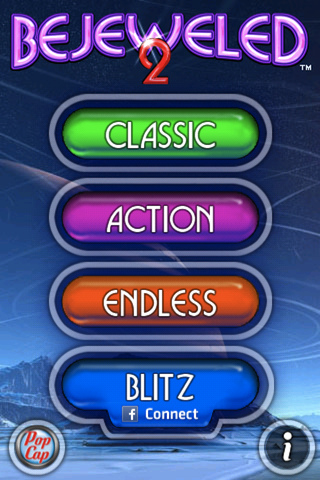Bejeweled 2: Deluxe iPhone Main Menu
