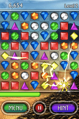 Bejeweled 2: Deluxe iPhone A electrical surge helping to clear the play field.