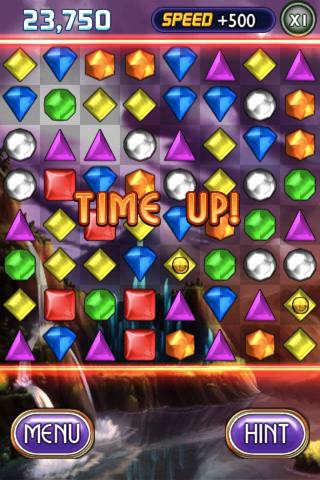 Bejeweled 2 Deluxe iPhone Any special gems still on the board will be added to your total score, including what happens after they burst.