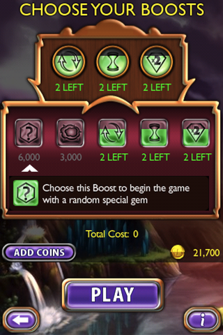 Bejeweled 2: Deluxe iPhone Some of the boost options. You'll have to pay for each use, though, but they can all increase your total score dramatically.