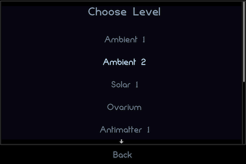 Osmos iPhone You can select any level you wish during the game, as long as it's unlocked.