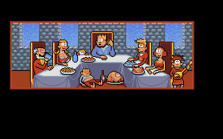 Gobliiins Atari ST Intro: The king is enjoying a meal with his royal suit...