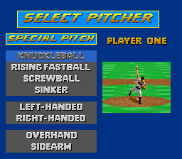 Relief Pitcher SNES Pitcher options