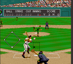 Relief Pitcher SNES About to take a swing at the ball