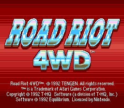 Road Riot 4WD SNES Title screen