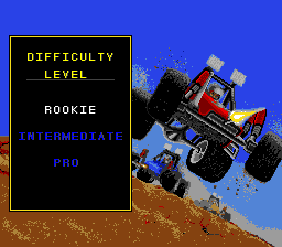 Road Riot 4WD SNES Select the difficulty level