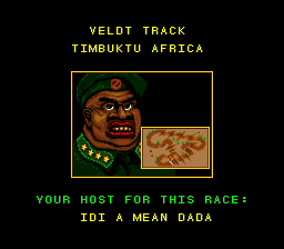 Road Riot 4WD SNES Africa's host