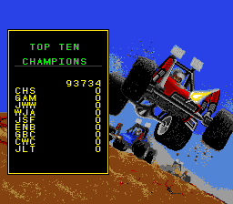 Road Riot 4WD SNES Top ten champions