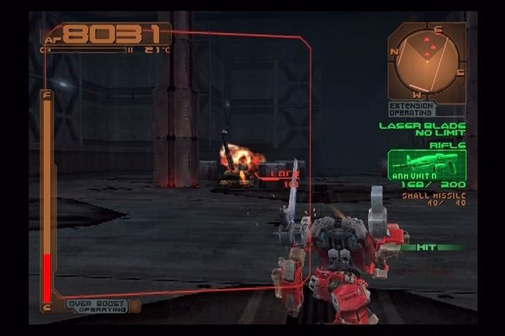 Armored Core 3 PlayStation 2 Attacking rebels in a warehouse.