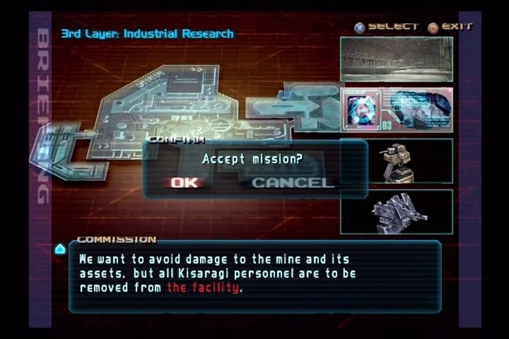 Armored Core 3 PlayStation 2 Pre-mission briefing.