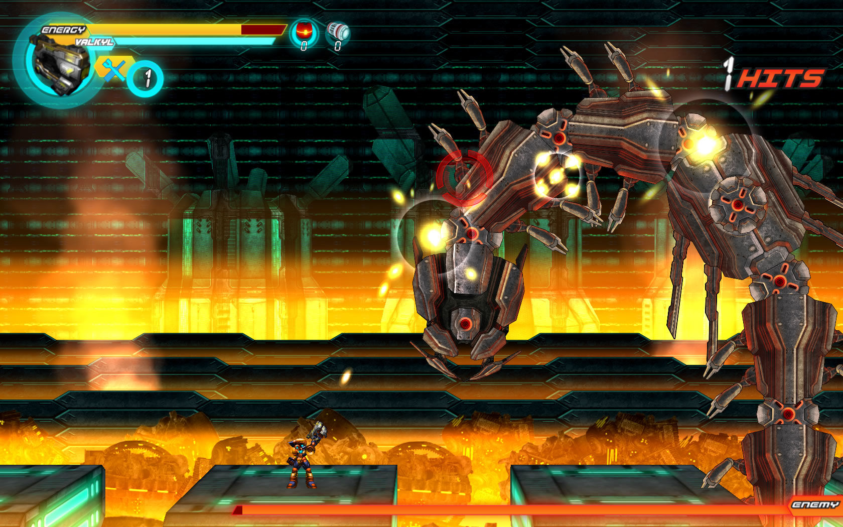 A.R.E.S.: Extinction Agenda Windows This boss is a giant worm unharmed by the lava below.