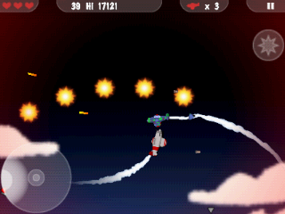 MiniSquadron Android This enemy planes launches a cascade of fireballs above my head