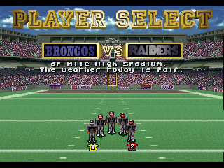NFL Quarterback Club SEGA 32X Player Select Screen