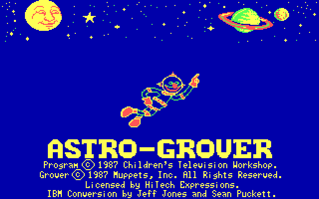 Astro-Grover DOS Title Screen