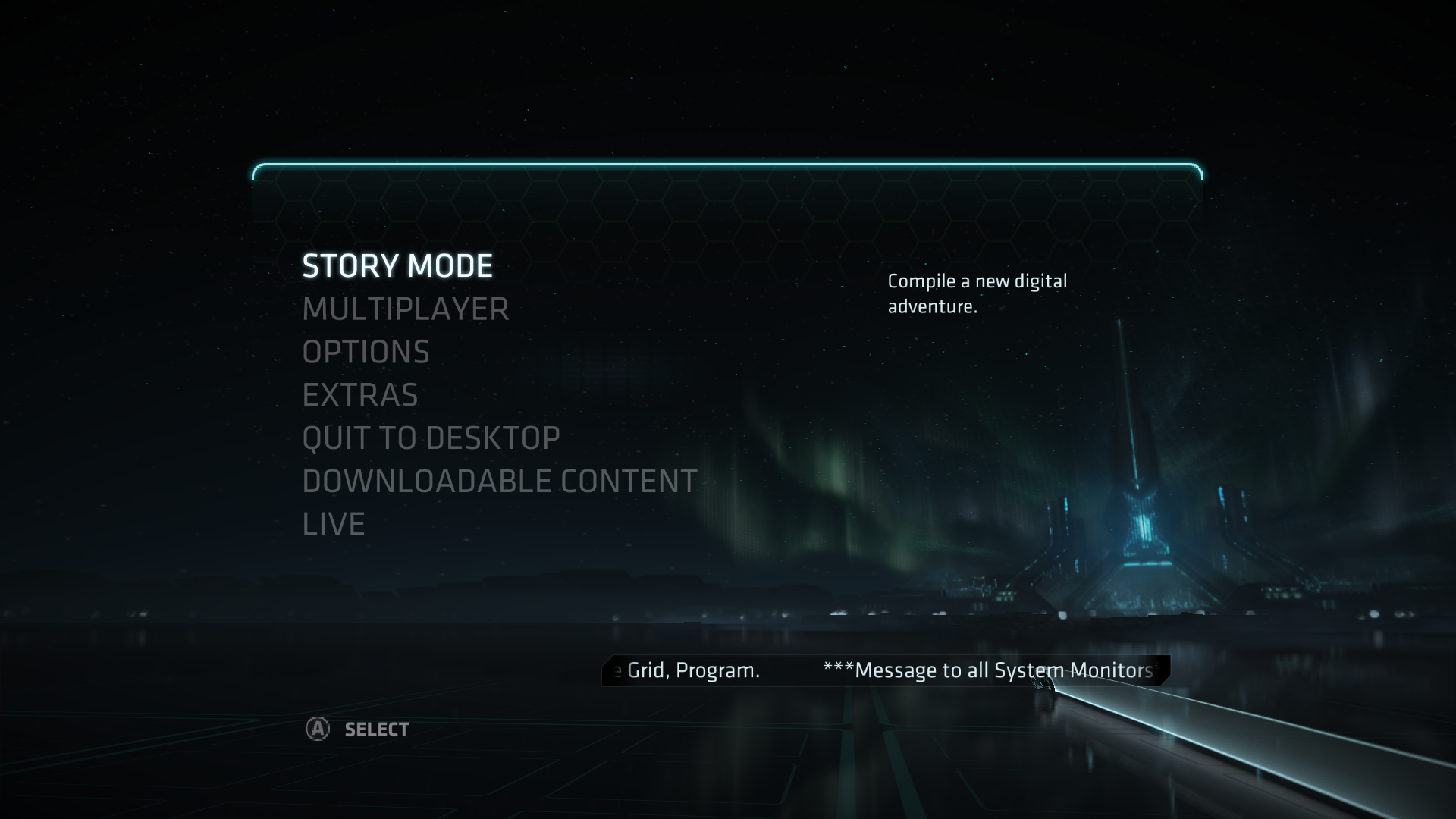 TRON: Evolution Windows Main menu.