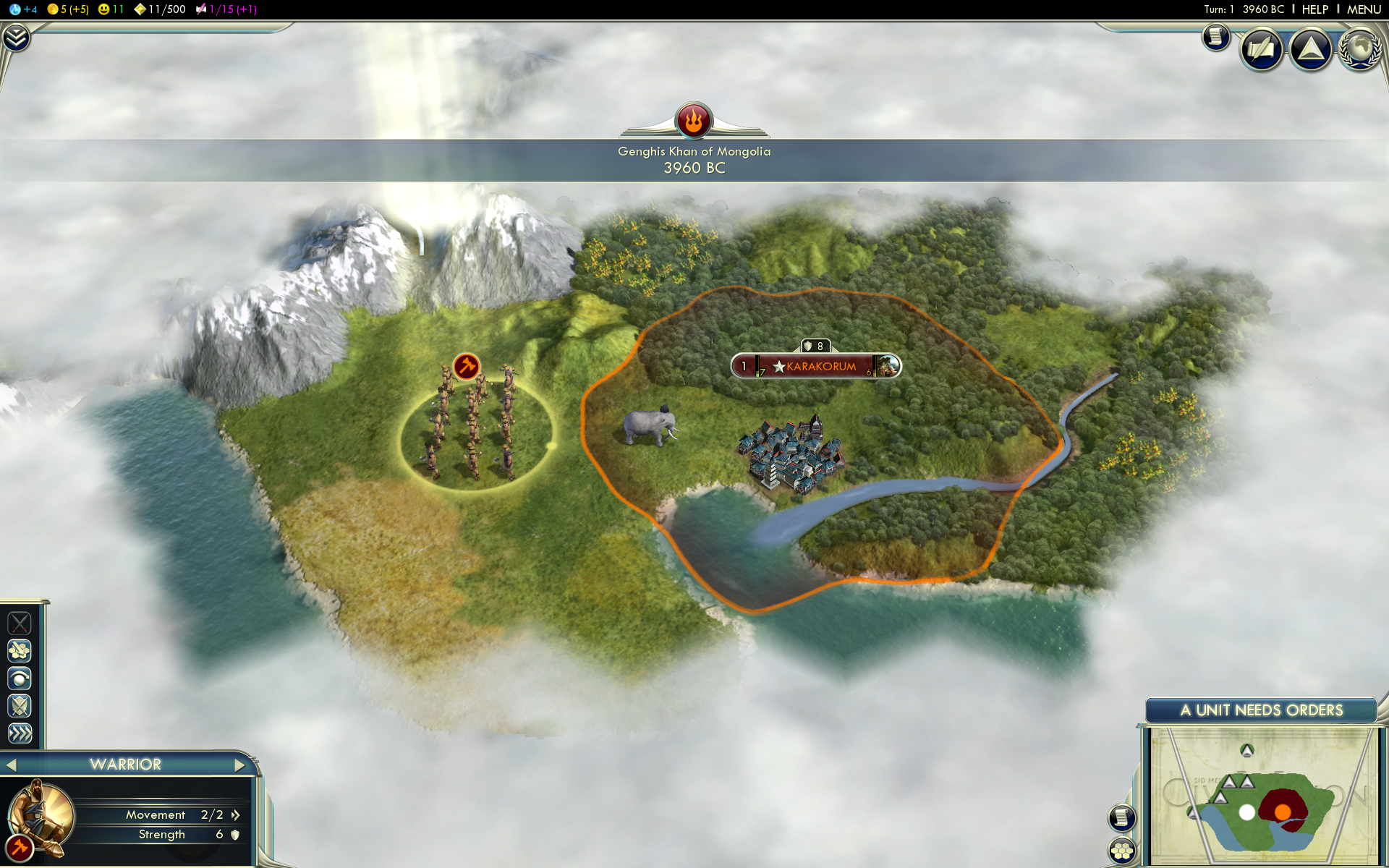 Sid Meier's Civilization V Windows Starting a new game as Genghis Khan.