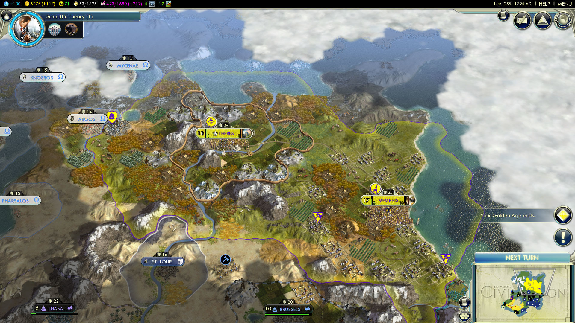Sid Meier's Civilization V Windows Great Wall covers all the territory but looks something like this