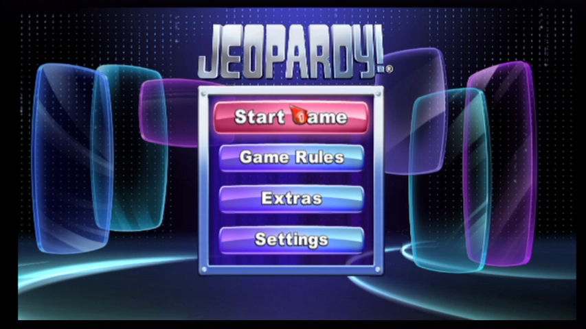 Jeopardy! Wii Title screen.