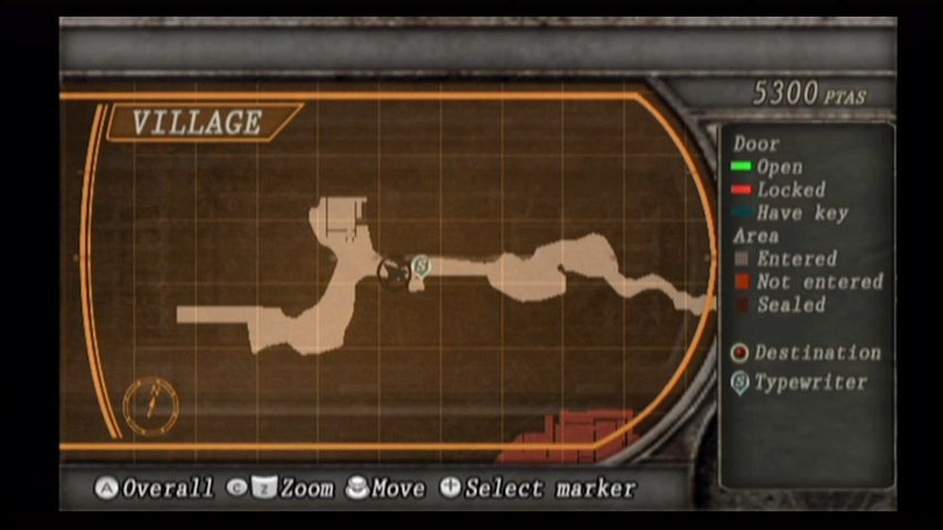 Resident Evil 4 Wii Wii's map screen.