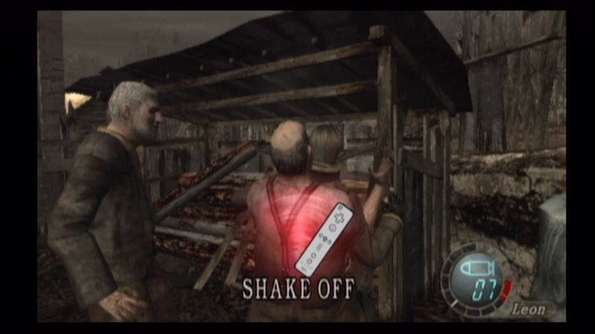 Resident Evil 4 Wii Shake the Wiimote to lose the zombies.