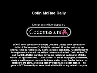 Colin McRae Rally PlayStation Title screen with legal stuff