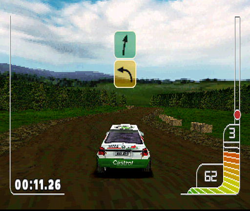 Colin McRae Rally PlayStation Another lesson is a real rally stage, though a very simple one. What I particularly like about this game is the way direction arrows appear on the screen, very convenient