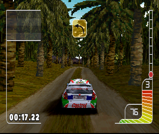 Colin McRae Rally PlayStation This is Indonesia. One of the toughest challenges in the game: the road is narrow and very often moist, dirty with a mix of sand added in