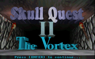 Skull Quest II: The Vortex DOS The game's title screen