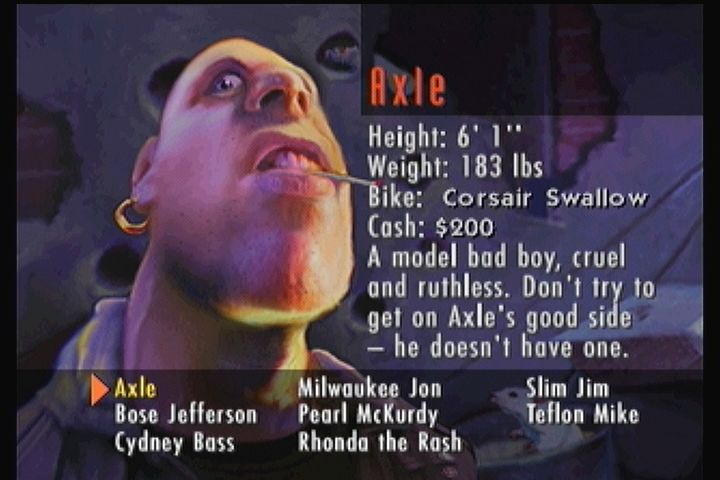 Road Rash 3DO Picking a character in the campaign mode