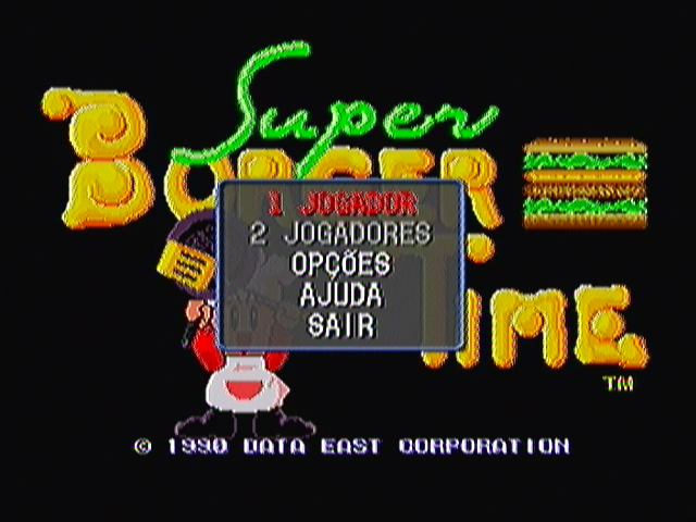 Super Burger Time Zeebo The only thing added to this version are these pop up menus. Here, for instance, you select number of players, access the options menu, the help screen or exit the game.