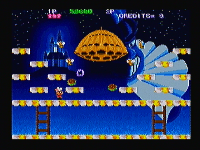 Super Burger Time Zeebo World 1-4. The first boss is this huge beehive, throwing bees against you.