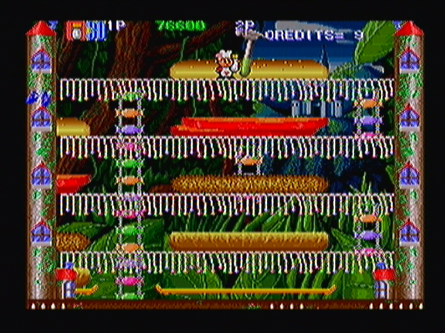 Super Burger Time Zeebo World 2-2. These hammers pound the platform, making you jump involuntarily.