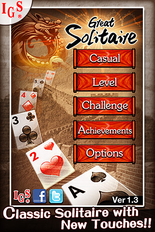 Great Solitaire! iPhone Title Screen