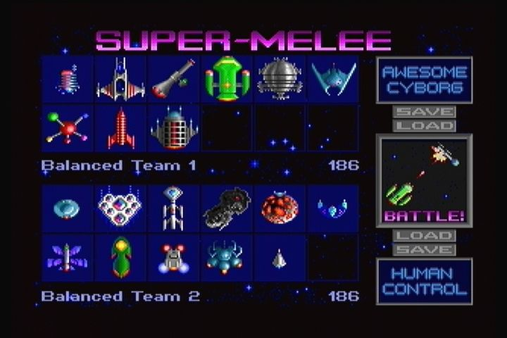 Star Control II 3DO Super-Melee menu. Arcade battle mode.