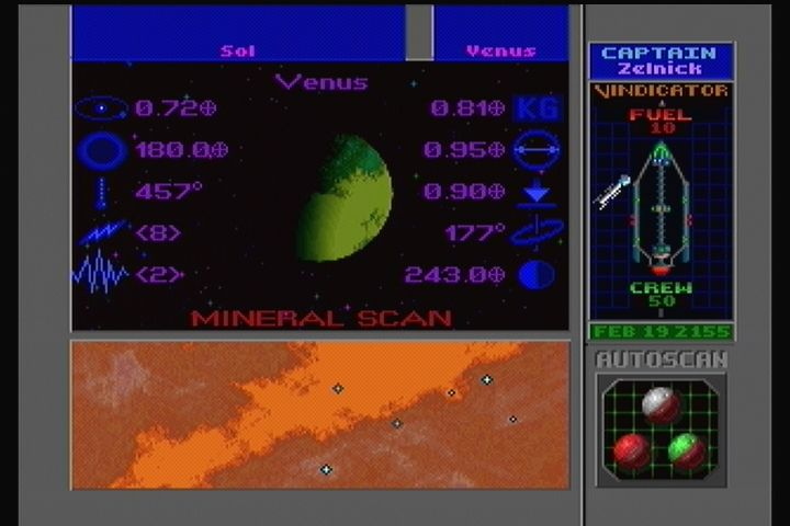 Star Control II 3DO Scanning a planet for resources.