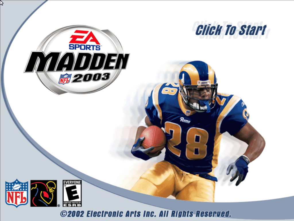 Madden NFL 2003 Windows Title screen