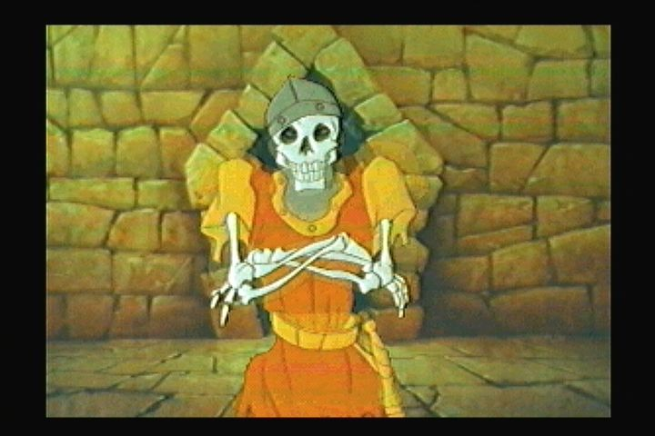 Dragon's Lair 3DO Death sequence. Dirk rots away almost instantly.